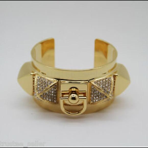JUICY COUTURE PYRAMID CUFF GOLD TONE BRACELET